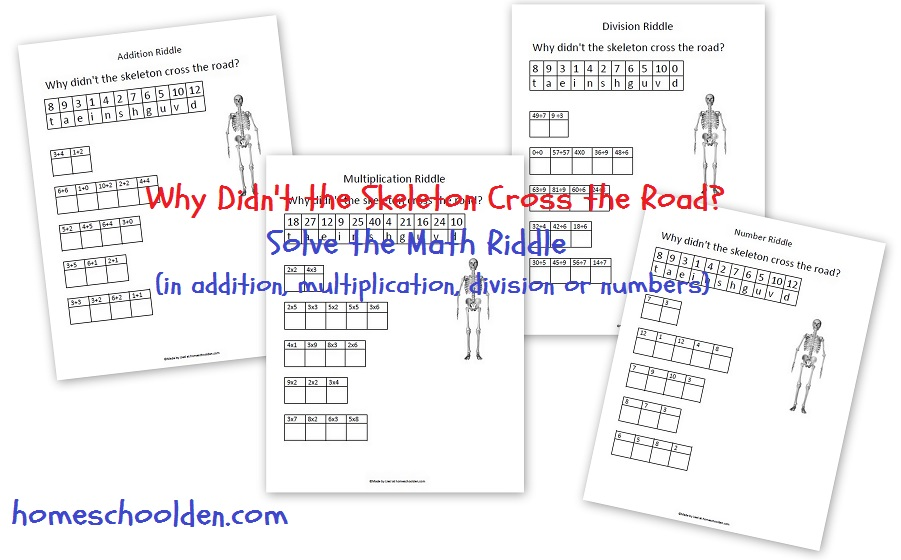 skeleton math riddle free math worksheet for addition multiplication division or numbers. Black Bedroom Furniture Sets. Home Design Ideas