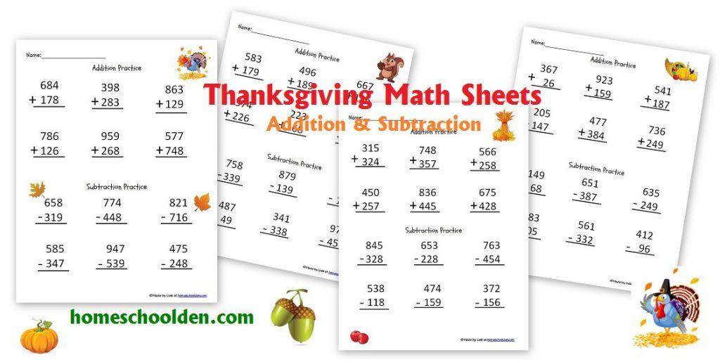 thanksgiving addition and subtraction worksheets free homeschool den. Black Bedroom Furniture Sets. Home Design Ideas