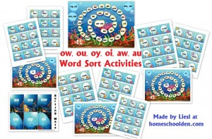 ow-ou-oy-oi-aw-au Word Sort Activities