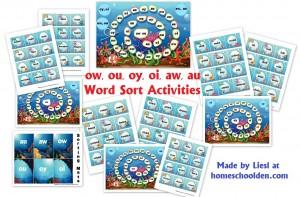 ow-ou-oy-oi-aw-au Word Sort Activities