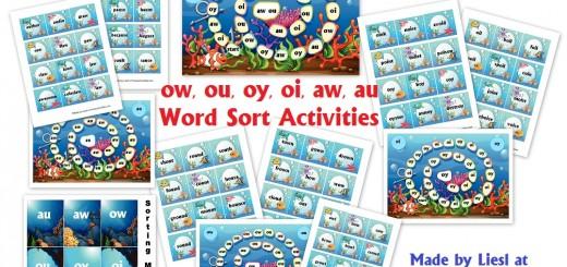 ow ou oy oi aw au Word Sort-Activities