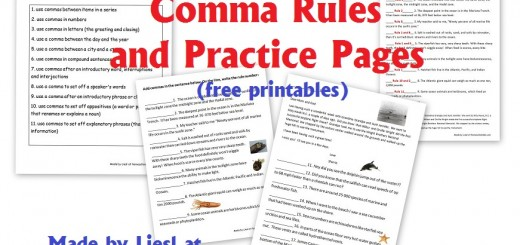 Comma rules and practice pages