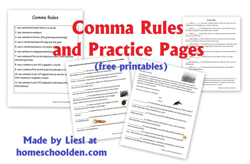 comma rules and practice pages free grammar worksheets homeschool den. Black Bedroom Furniture Sets. Home Design Ideas