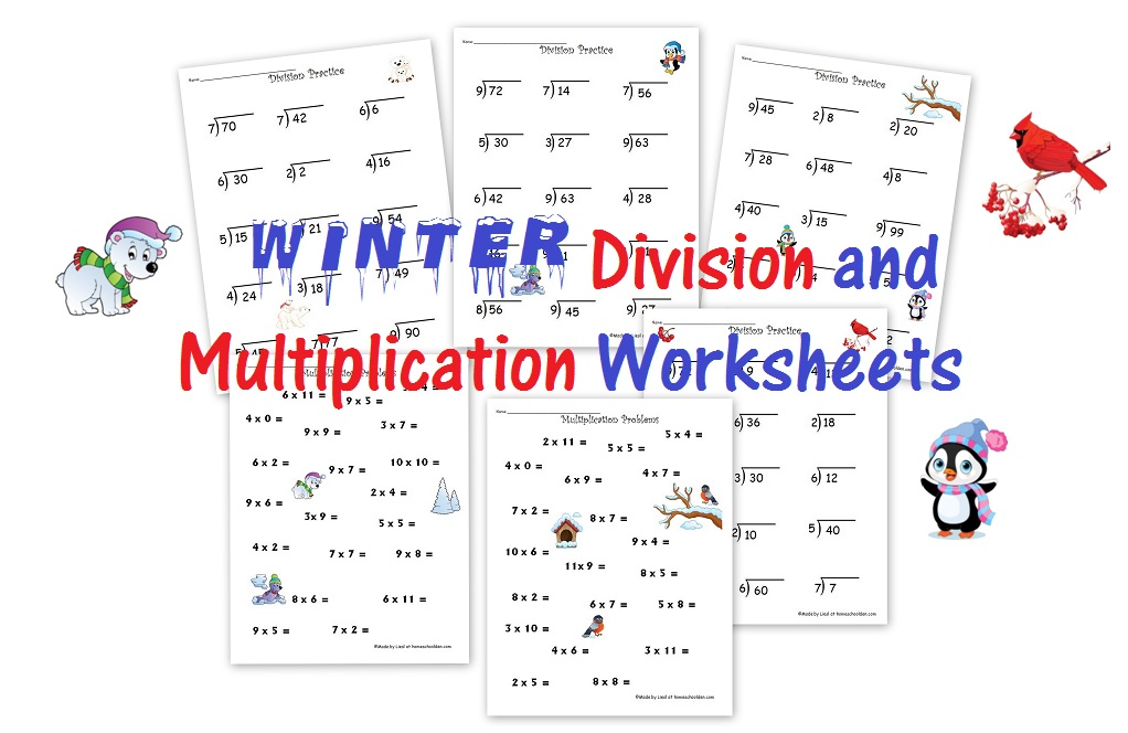free winter division and multiplication worksheets homeschool den. Black Bedroom Furniture Sets. Home Design Ideas