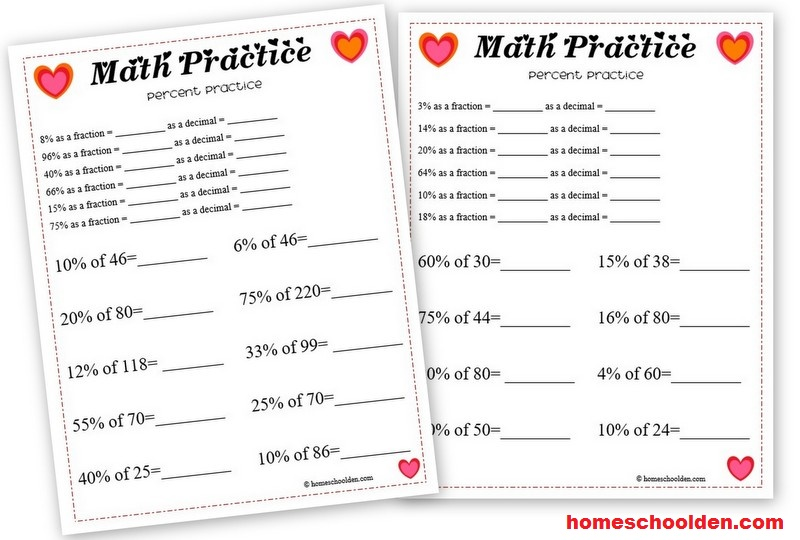 valentine 39 s day math percent worksheet homeschool den. Black Bedroom Furniture Sets. Home Design Ideas