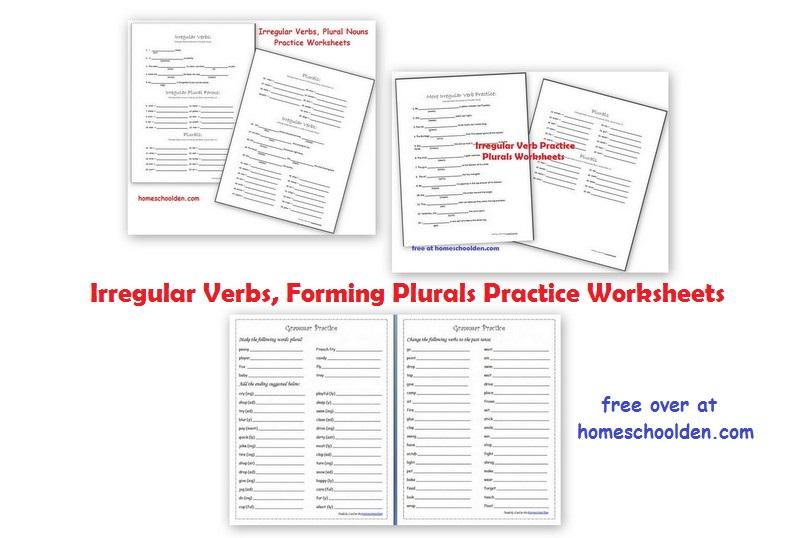 irregular verb practice and plural nouns free grammar worksheets homeschool den. Black Bedroom Furniture Sets. Home Design Ideas