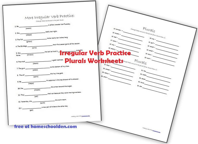 Printable Worksheets free irregular verb worksheets : More Irregular Verb and Plural Noun Practice Sheets - Homeschool Den