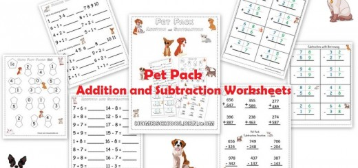 Addition Subtraction Pet-Themed Worksheets
