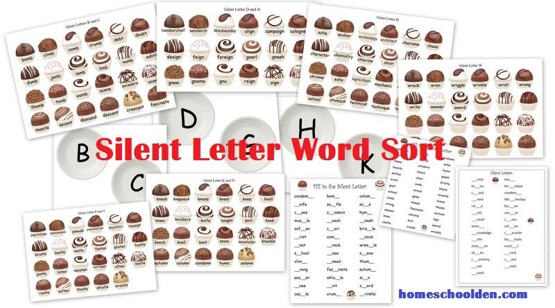 silent letter worksheets and word sort homeschool den. Black Bedroom Furniture Sets. Home Design Ideas