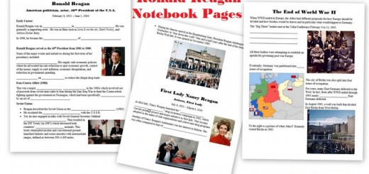 Ronald Reagan Worksheets Notebook Pages Free