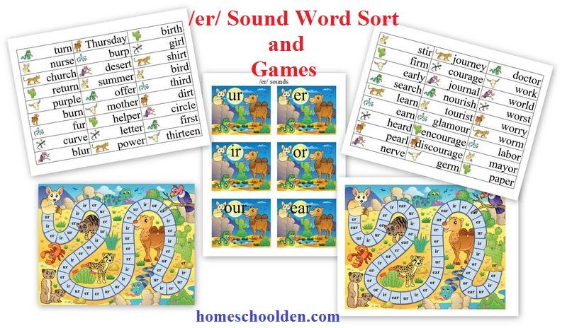 er sound word sort and game ur ir er or ear our spelling words homeschool den. Black Bedroom Furniture Sets. Home Design Ideas