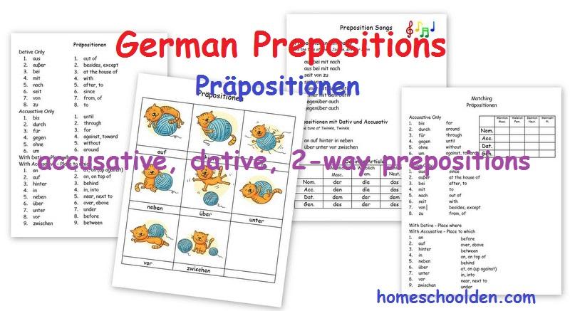 german prepositions pr positionen accusative dative and 2 way prepositions homeschool den. Black Bedroom Furniture Sets. Home Design Ideas