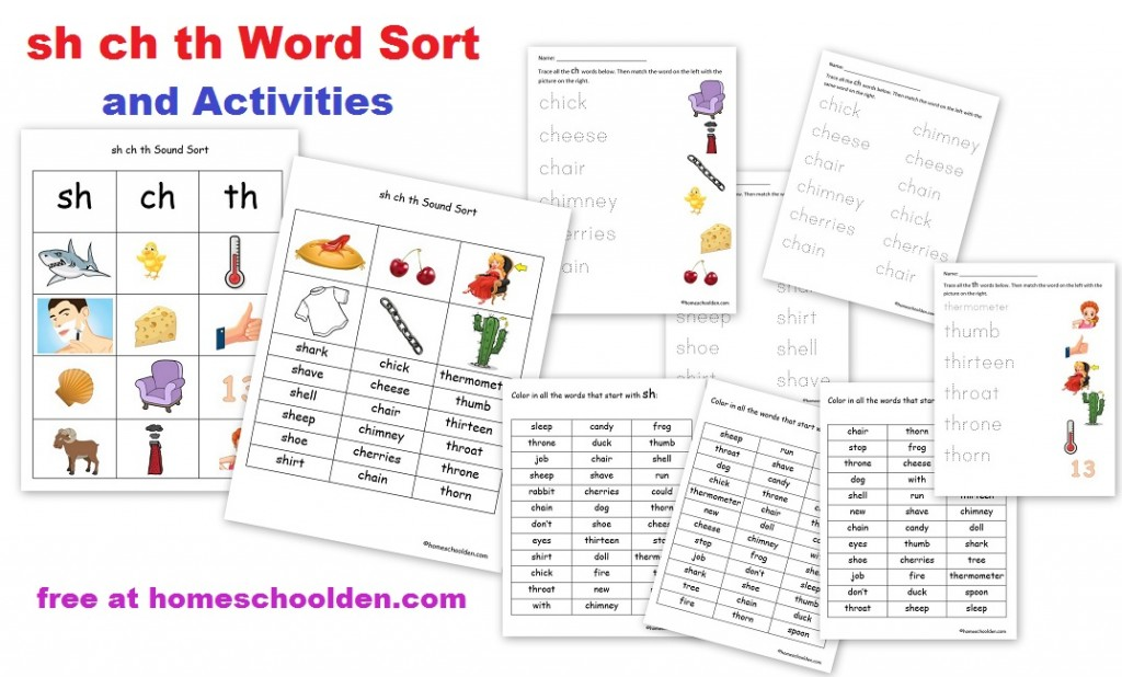 Printable Worksheets ch sh th worksheets : sh ch th Word Sort Activities (Free!) - Homeschool Den