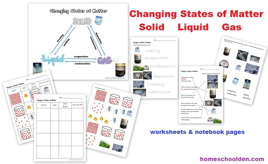 Printable Worksheets solid liquids and gases worksheets : States of Matter – Changing States of Matter Packet (50+pages ...