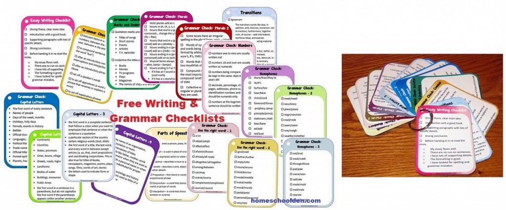 Free Writing and Grammar Checklists Printable