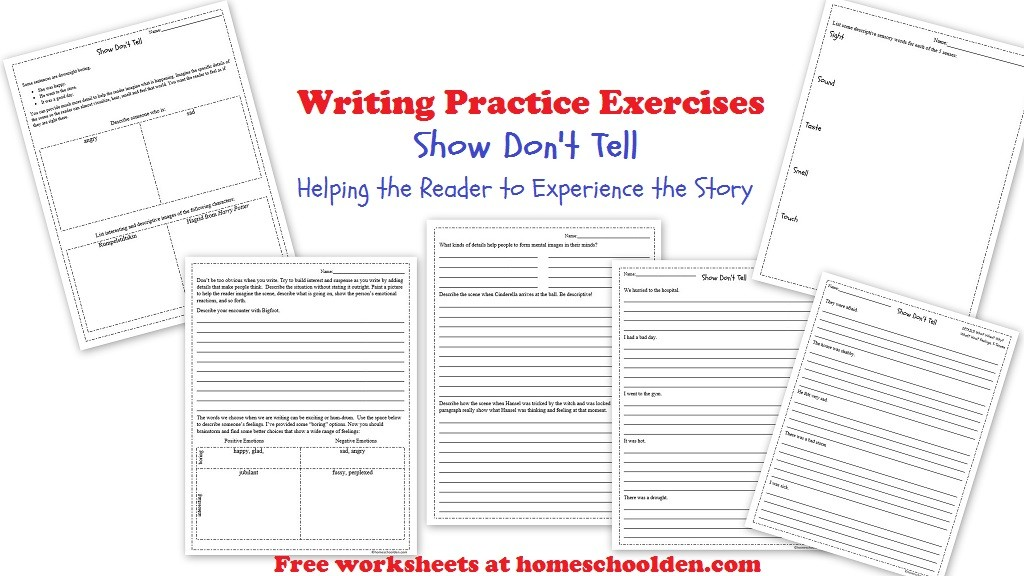 Writing: Show Don't Tell Practice Worksheets (Free Packet ...