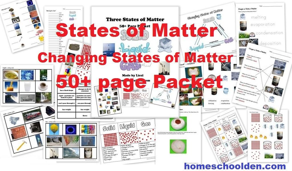 States of Matter Changing States of Matter Packet 50pages – Three States of Matter Worksheet