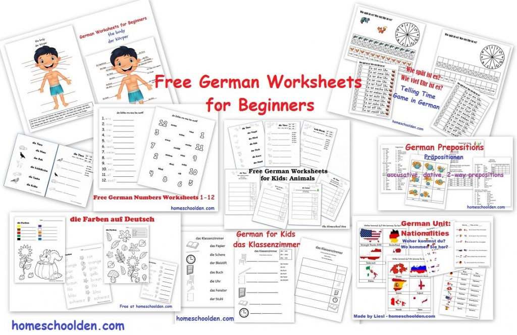 free german worksheets for beginners homeschool den. Black Bedroom Furniture Sets. Home Design Ideas