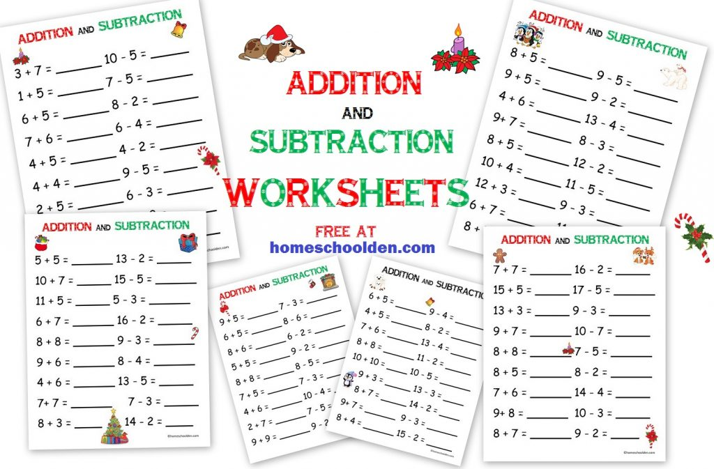 addition subtraction free christmas math worksheets homeschool den. Black Bedroom Furniture Sets. Home Design Ideas
