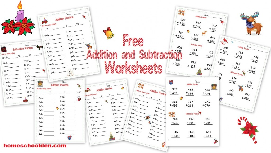 Math Worksheets free holiday math worksheets : Free Holiday-Themed Addition and Subtraction Worksheets ...