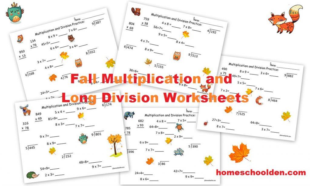 fall multiplication and division worksheets free homeschool den. Black Bedroom Furniture Sets. Home Design Ideas