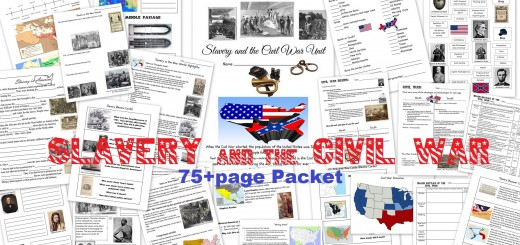 Slavery and the Civil War Worksheets Notebook Pages