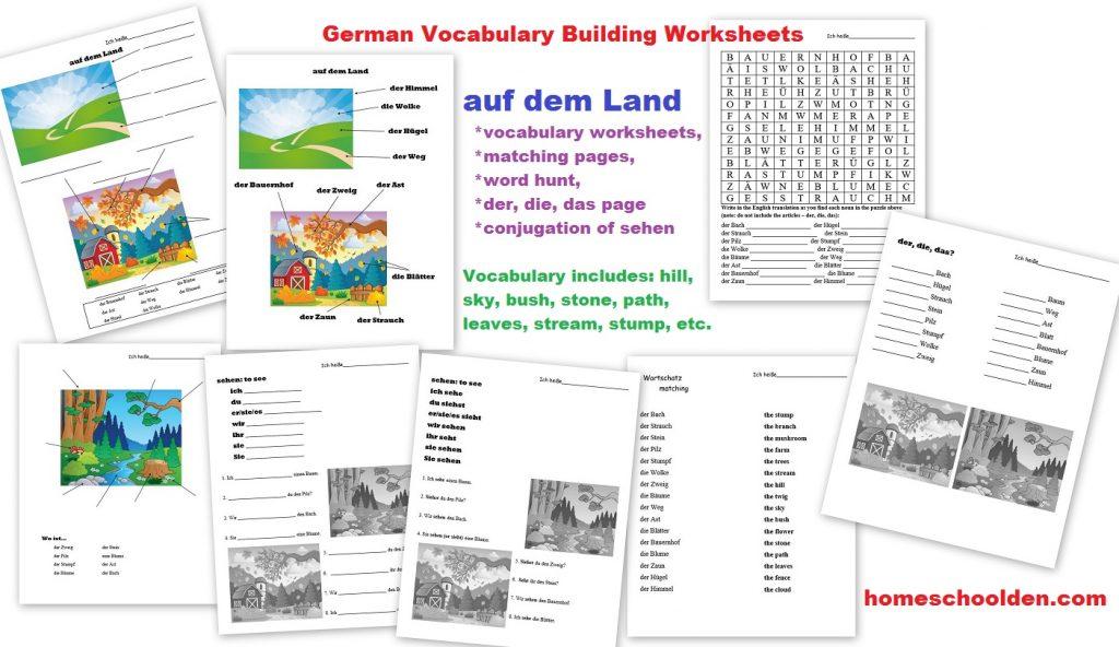 Workbooks vocabulary building worksheets high school : German Worksheets: auf dem Land, der Bauernhof (in the country ...
