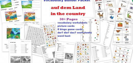 German Worksheets - bauernhof, auf dem land - farm - countryside