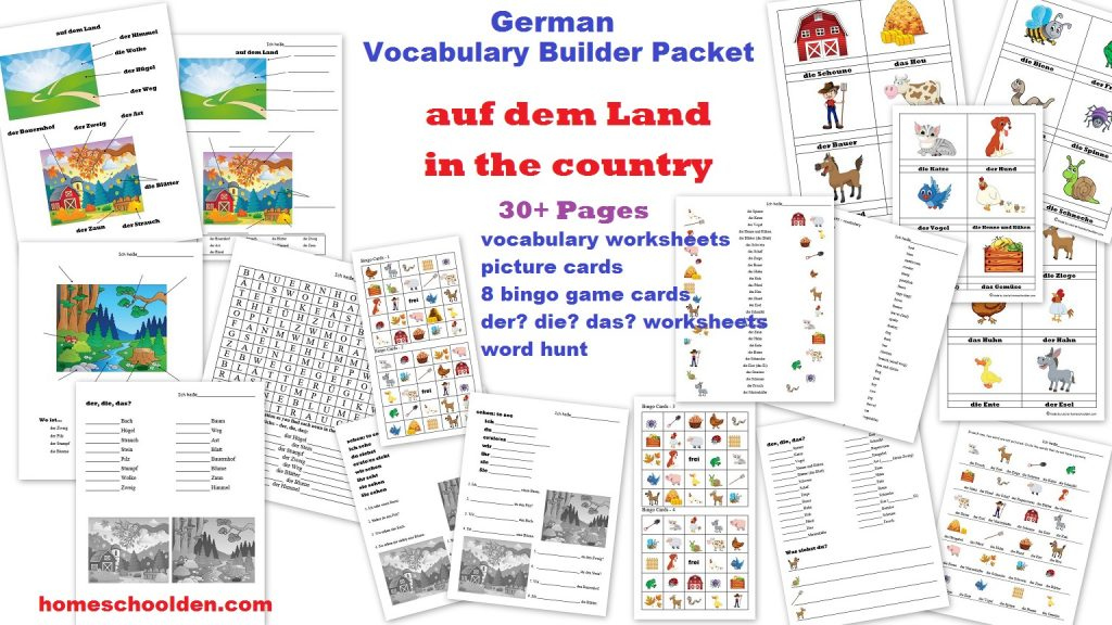 german worksheets auf dem land der bauernhof in the country the farm homeschool den. Black Bedroom Furniture Sets. Home Design Ideas