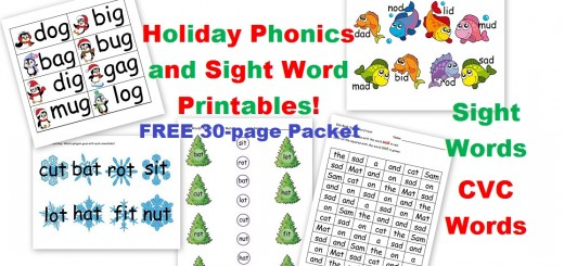 Holiday phonics and sight word worksheets