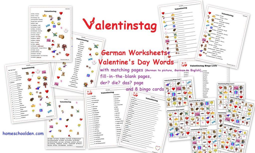german worksheets valentinstag homeschool den. Black Bedroom Furniture Sets. Home Design Ideas