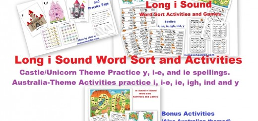 Long i Words spelled ie y i-e igh y Activities
