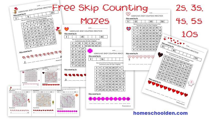 Free-Skip-Counting-Mazes Valentine Math Worksheets Free on activities for elementary, for 5th grade, candy heart, addition subtraction, for 1st grade,