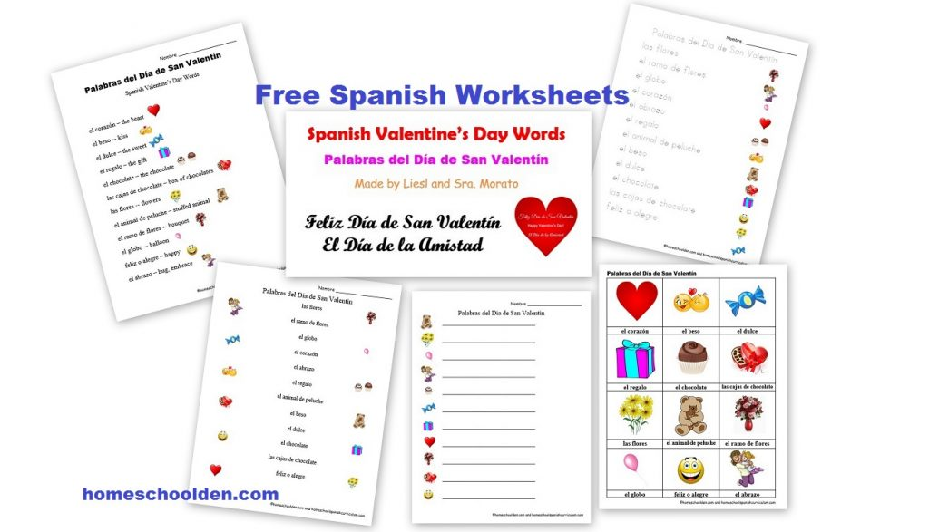free spanish worksheets valentine 39 s day d a de san valent n homeschool den. Black Bedroom Furniture Sets. Home Design Ideas