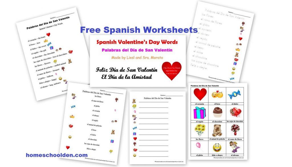 Workbooks spanish food worksheets : Free Spanish Worksheets: Valentine's Day – Día de San Valentín ...