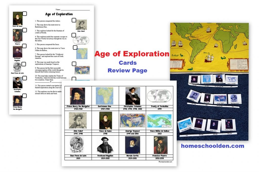 worksheet Age Of Exploration Worksheets age of exploration packet homeschool den worksheet cards