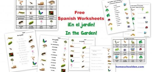 Free Spanish Worksheets for Kids - garden - jardín