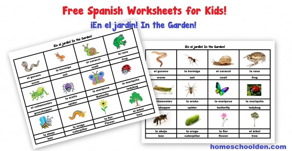 Free Spanish Worksheets for Kids: In the Garden! ¡En el ...