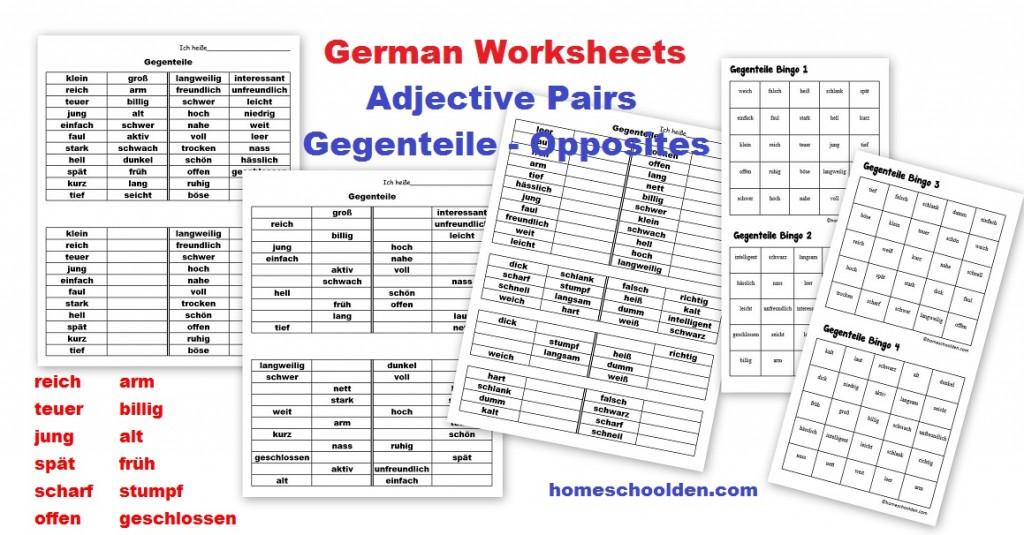 German Worksheets Adjective Pairs Opposites Gegenteile