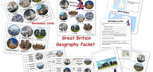 Britain geography landmarks packet