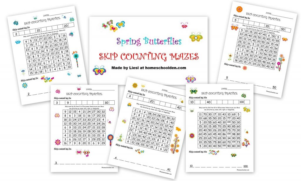 spring skip counting mazes 2s 3s 4s 5s 10s free homeschool den. Black Bedroom Furniture Sets. Home Design Ideas
