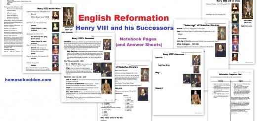 English Reformation Henry VIII worksheets