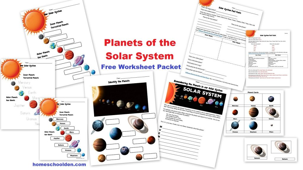 Workbooks solar system for kids worksheets : Free Planets of the Solar System Worksheets - Homeschool Den