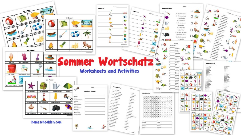 sommer wortschatz german worksheets and activities homeschool den. Black Bedroom Furniture Sets. Home Design Ideas