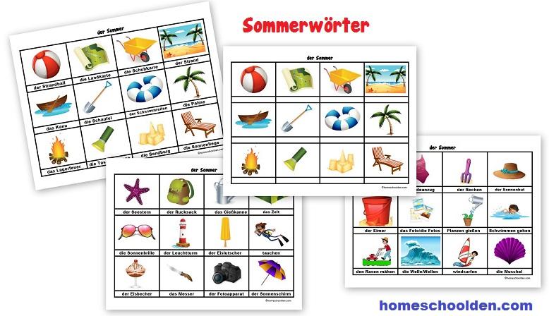 Sommerwörter - Karten
