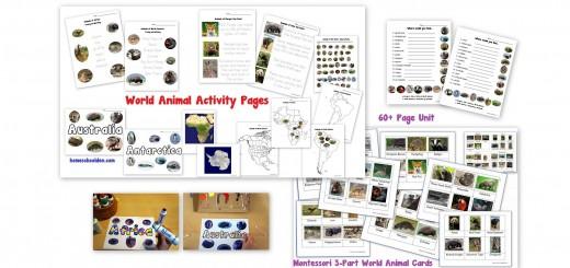 World Animals Unit 3-Part Cards Montessori Cards Activities