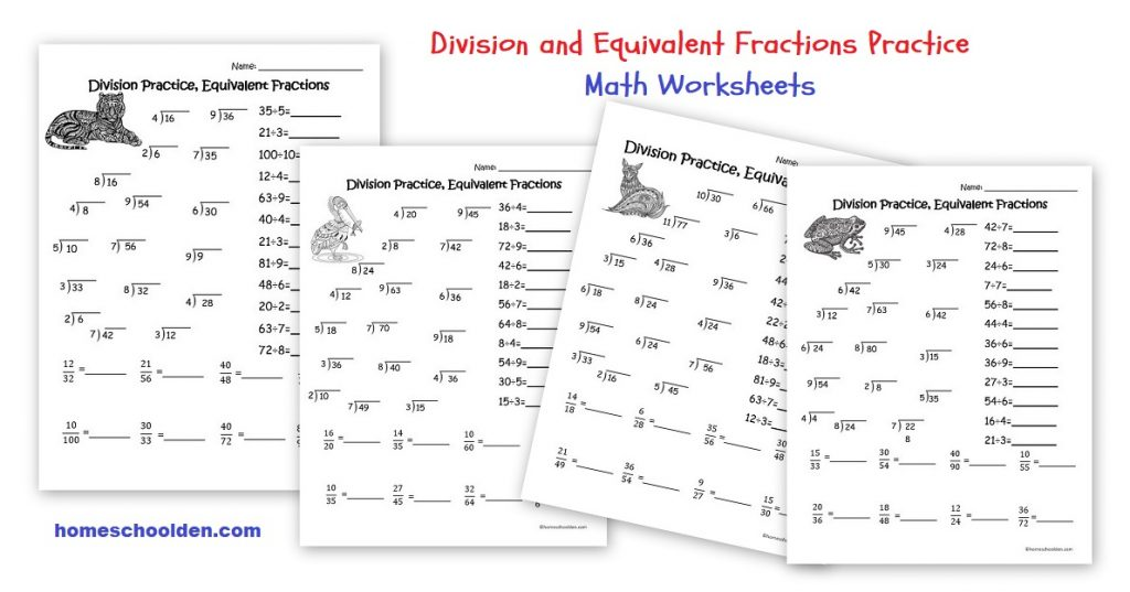division practice equivalent fractions worksheets homeschool den. Black Bedroom Furniture Sets. Home Design Ideas