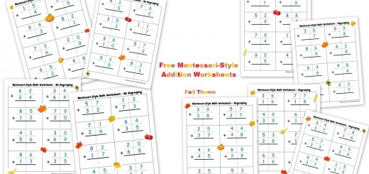 Free Montessori Style Addition Worksheets