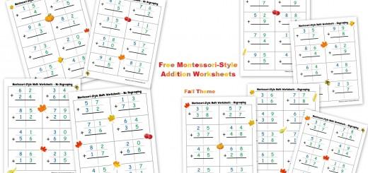 Free Montessori Style Addition Worksheets