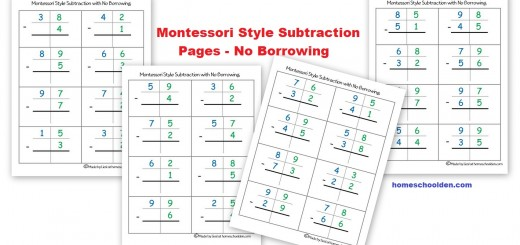 Montessori Style Subtraction Pages No Borrowing